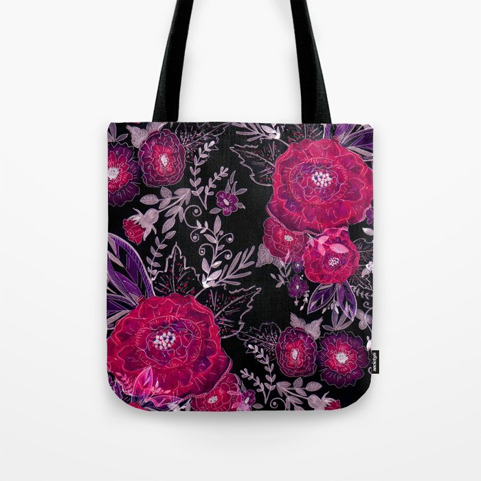 Pink roses on black background . Tote Bag