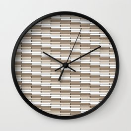 Staggered Oblong Rounded Lines Pattern Pantone Hazelnut Wall Clock