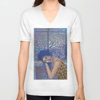 window V-neck T-shirts featuring Window by doviArt