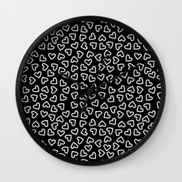 Little White Line Drawing Hearts Wall Clock