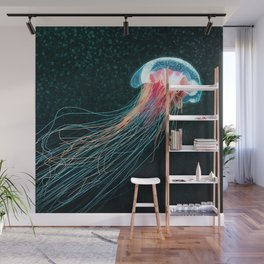 Jellyfish deep sea ocean creature illustration home decor drawing Wall Mural