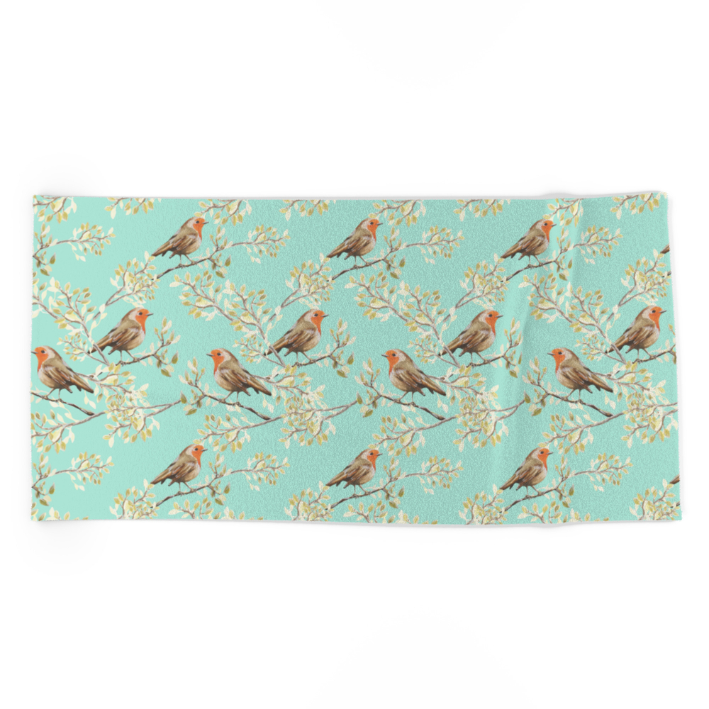 Vintage Redbreast Robin Pattern Beach Towel by tanyalegere (BCT7776169) photo