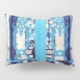 Ornate Iron Gate Blue Pillow Sham