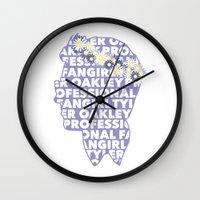 fangirl Wall Clocks featuring Professional fangirl Tyler Oakley by ElectricShotgun