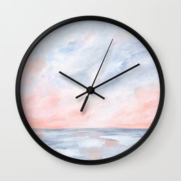 Good Morning - Pink and Orange Sunrise Seascape Wall Clock