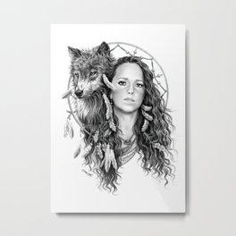 Heather / Black & white Metal Print