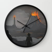 the lord of the rings Wall Clocks featuring Lord Of The Rings by ketizoloto