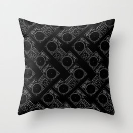 Turntable and Mixer illustration pattern- sketch / drawing Throw Pillow