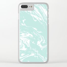 Miya - spilled ink abstract swirl marbled painting marble mint white texture cell phone case Clear iPhone Case