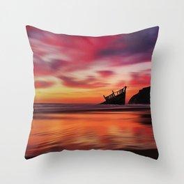 Pink Sunset at Blue Shutters - East Beach, Rhode Island Throw Pillow