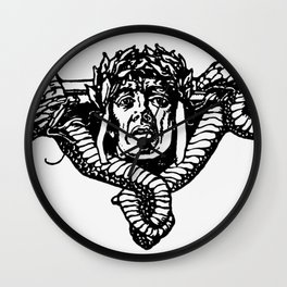 A tailpiece of an assassin's head and his sword Wall Clock