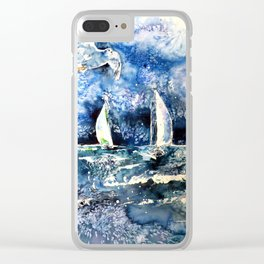 Sailboats with seagul Clear iPhone Case