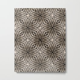 Black and Tan Geometric Modern Chrysanthemum Pattern Metal Print