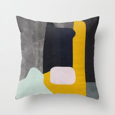 Yellow black and blue creature Throw Pillow