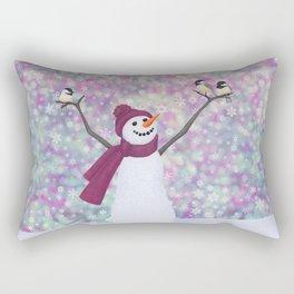 snowman and chickadees Rectangular Pillow