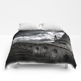 Black and White Gothic Castle Halloween Comforters