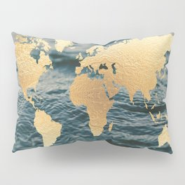 Gold Map in Water Pillow Sham