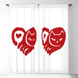 RED CAT HEART Blackout Curtain