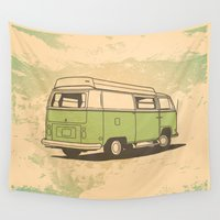 vw bus Wall Tapestries featuring VW Bus by QRS Patterns