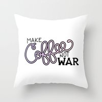 Coffee Not War (Unicorn) Throw Pillow
