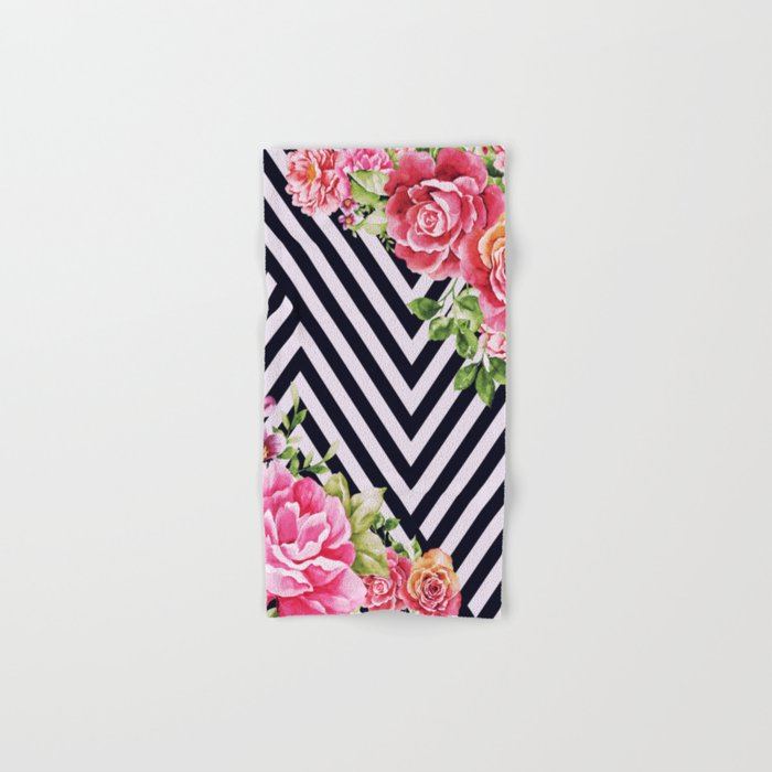 flowers geometric Hand & Bath Towel