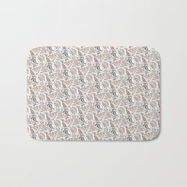 Classic Brown Batik Walang Pattern on White Background Bath Mat
