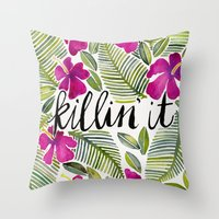 tropical Throw Pillows featuring Killin' It – Tropical Pink by Cat Coquillette