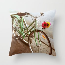 MINTY BIKE Throw Pillow