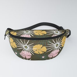 Tropical Foliage Pattern with Dark Brown  Fanny Pack