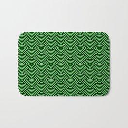 Japanese Waves (Black & Green Pattern) Bath Mat