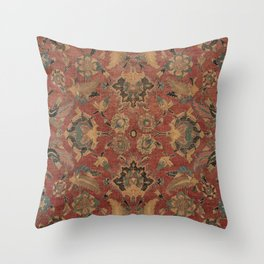 Flowery Boho Rug V // 17th Century Distressed Colorful Red Navy Blue Burlap Tan Ornate Accent Patter Throw Pillow