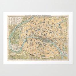 Vintage Map of Paris France (1890) Art Print