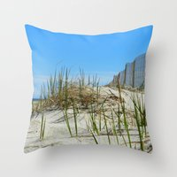 cape cod Throw Pillows featuring Cape Cod Dunes by Doreen Calvano Art & Photography