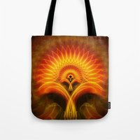 tree of life Tote Bags featuring Life Tree by Christine baessler