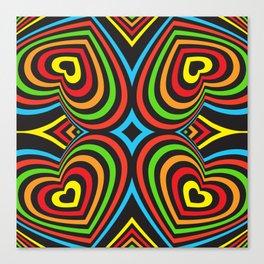 Three-dimensional volumetric pattern. colorful rainbow on black Canvas Print