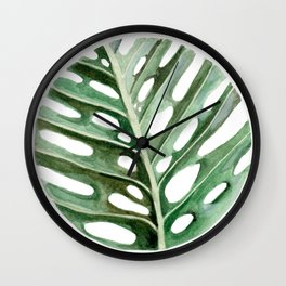 Circular Monstera Leaf Painting Wall Clock