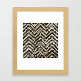 Black and White Marble and Gold Chevron Zigzag Framed Art Print