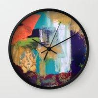 ganesh Wall Clocks featuring Ganesh by Prema Designs