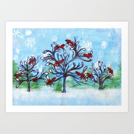 Red Birds in Winter Trees Art Print