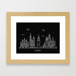 Krakow Minimal Nightscape / Skyline Drawing Framed Art Print