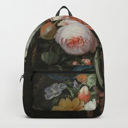 Abraham Mignon - A hanging bouquet of flowers Backpack