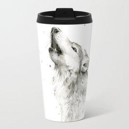 Wolf Howling Watercolor Animals Wildlife Painting Animal Portrait Travel Mug