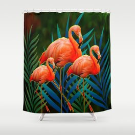 TROPICAL FLORIDA PINK FLAMINGOS IN  BLUE FOLIAGE Shower Curtain