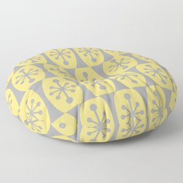 Mid Century Modern Atomic Fusion Pattern 332 Yellow and Gray Floor Pillow