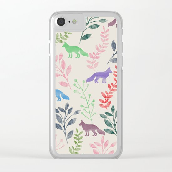 Watercolor Floral & Fox III Clear iPhone Case