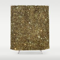 gold glitter Shower Curtains featuring Gold Glitter by NatalieBoBatalie