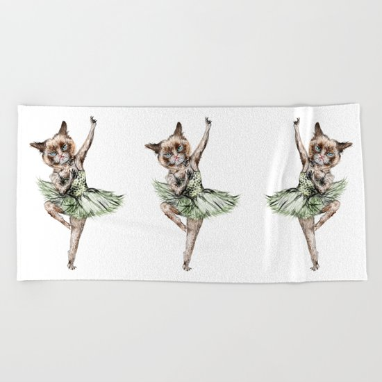 Siamese Ballerina in Cat Ballet  Beach Towel