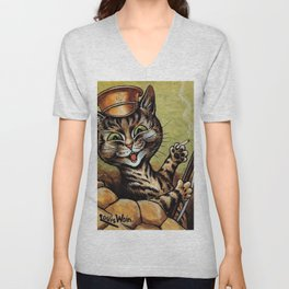 'Hey, wait a minute!  You weren't supposed to be home 'til 11:00, dammit!' cat humorous print Unisex V-Neck