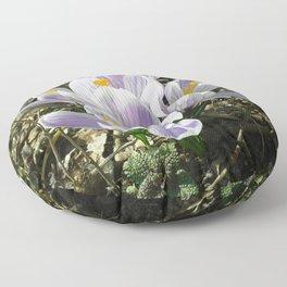 Spring crocus flowers Floor Pillow