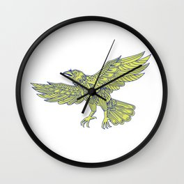 Common Raven Flying Mandala Wall Clock